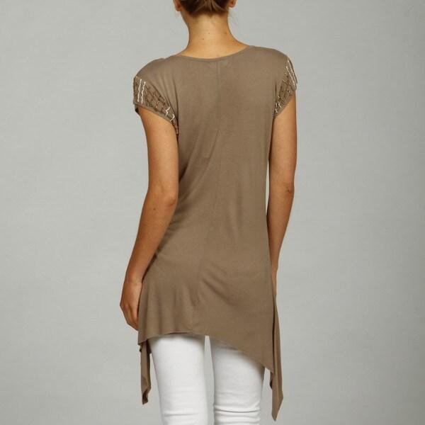 Kaktus Women's Solid Uneven Hem Sequined Tunic Top