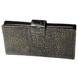 Journee Collection Women's Patent Snake Print Clutch Wallet - Thumbnail 1