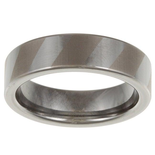Men's Tungsten Dual Polish Stripe Ring (6 mm)