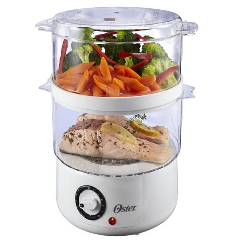 Oster CKSTSTMD5-W White Double-tiered Food Steamer