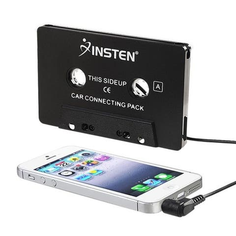 INSTEN Black Universal 3.5mm Car Audio Cassette Adapter with 3 ft. Cord for Smartphones/ Apple iPhone 7/ 6/ 6s Plus