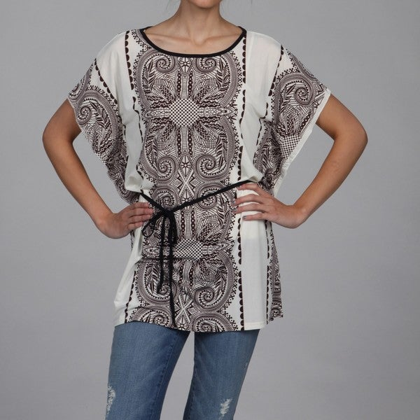 Second Skin Women's Brown Allover Print Stretch Knit Top
