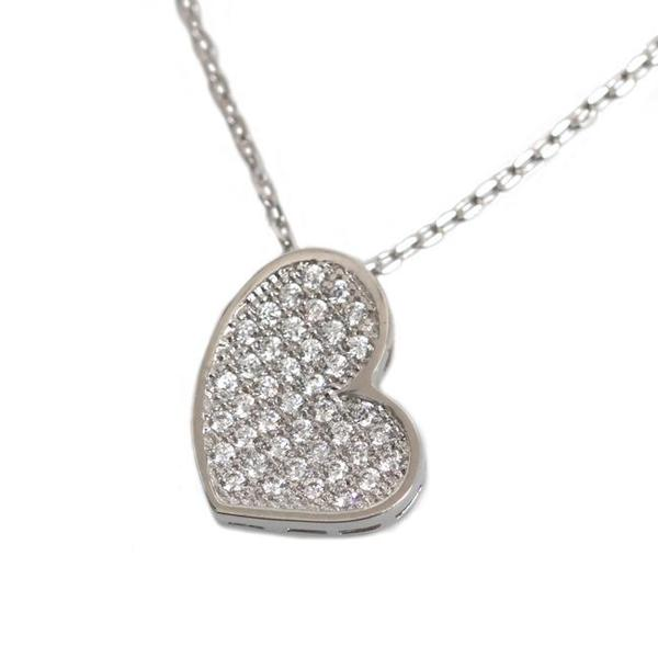 NEXTE Jewelry Silvertone Cubic Zirconia Oblong Heart Necklace