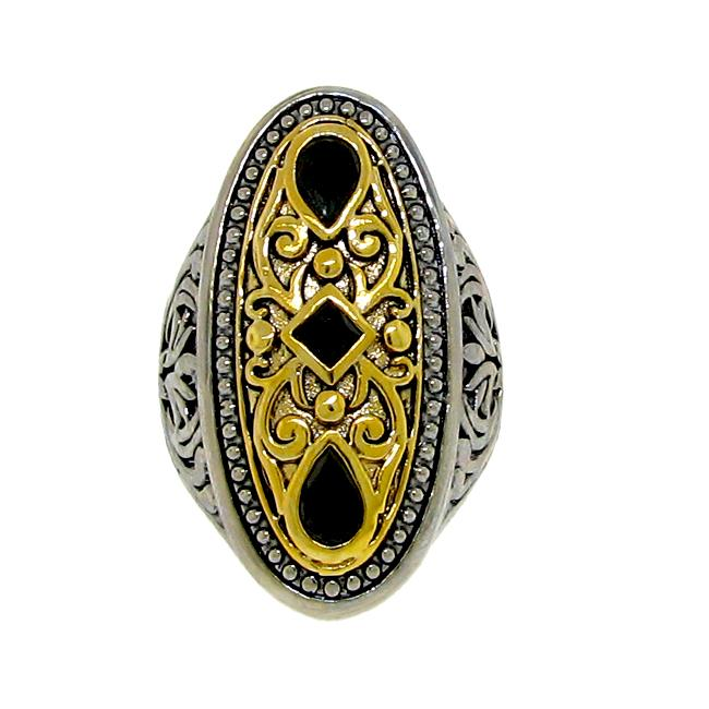 Two-tone Black Cubic Zirconia Filigree Ring