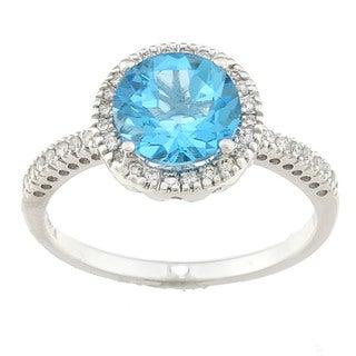 Sofia 14k White Gold 1/5ct TDW Diamond and Blue Topaz Ring (H, SI2)