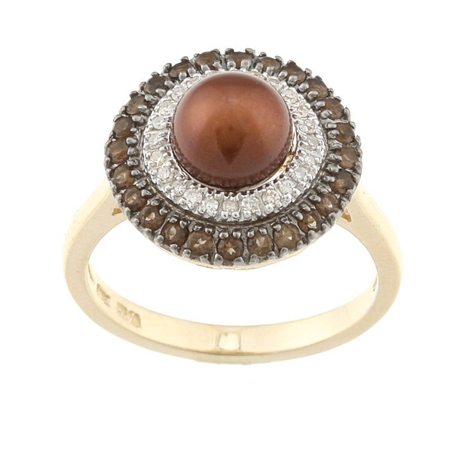 Sofia 14k Gold Brown Freshwater Pearl, 1/8ct TDW Diamond and Quartz Ring (7 mm) (H-I, I2)