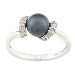 Sofia 10k White Gold Black Freshwater Pearl and 1/10ct TDW Diamond Ring (7 mm) (J-K, I2-I3)
