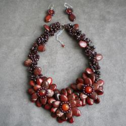 Red Jasper/ Carnelian/ Garnet Floral Jewelry Set (Thailand)