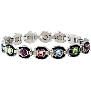 Sabona Women's Stainless Steel Multicolor Gem Horseshoe Magnetic Bracelet