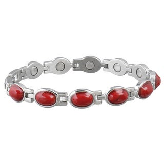 Sabona Women's Stainless Steel Red Stone Magnetic Bracelet