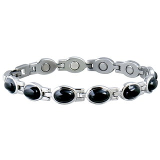 Sabona Women's Stainless Steel Black Stone Magnetic Bracelet