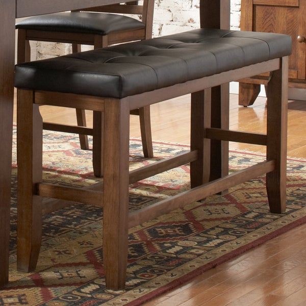 TRIBECCA HOME Kai Oak Brown Casual 24-inch Backless Counter Height Dining Bench