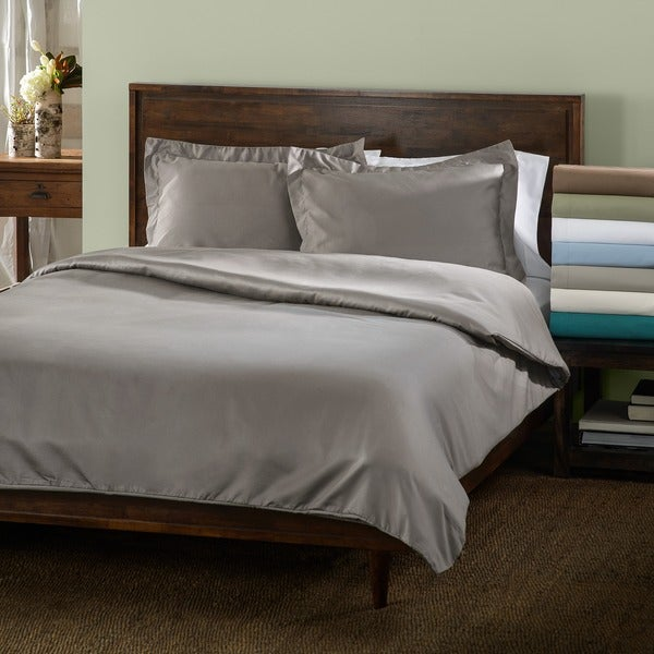Superior Cotton Blend 600 Thread Count Wrinkle Resistant Solid 3-piece Duvet Cover Set