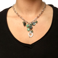 Charming Life Silver Paua, Crystal and Aventurine Heart Fringe Necklace