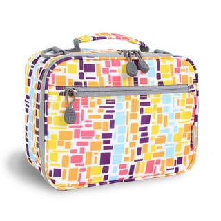 J World Neon Squares Cody Polyester Lunch Tote with Front Pocket