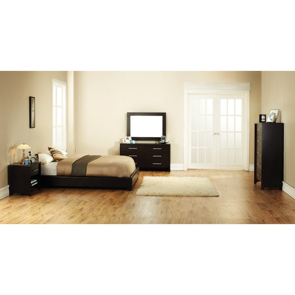 Metro King Black Faux Leather Bed