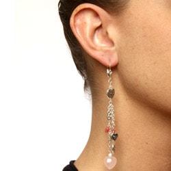 Charming Life Silver Rose Quartz, Jade and Pewter Heart Fringe Earrings