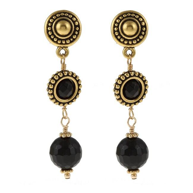 Lola's Jewelry Goldtone Pewter Black Onyx Multilayer Post Earrings
