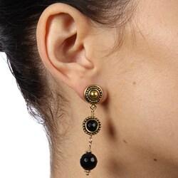 Lola's Jewelry Goldtone Pewter Black Onyx Multilayer Post Earrings - Thumbnail 2