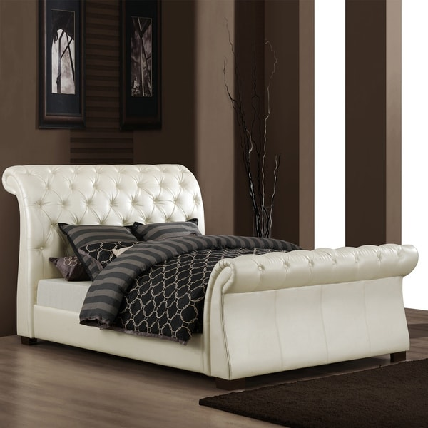 Shop Tribecca Home Castela Soft White Faux Leather King Sleigh Bed Overstock 5943190