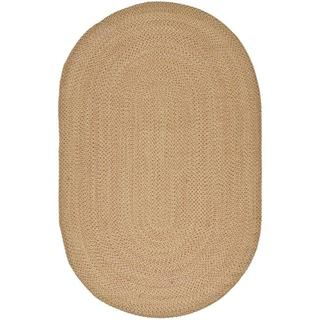 Safavieh Hand-woven Reversible Beige with Light Pink Undertone Braided Rug (8' x 10' Oval)