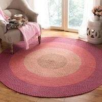 Safavieh Hand-woven Reversible Pink Braided Rug - Multi - 6' X 6' Round
