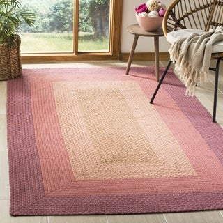 Safavieh Hand-woven Reversible Pink Braided Rug (6' Square)