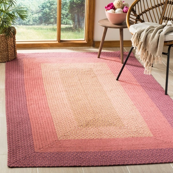 Safavieh Hand-woven Reversible Pink Braided Rug - 8' x 10'