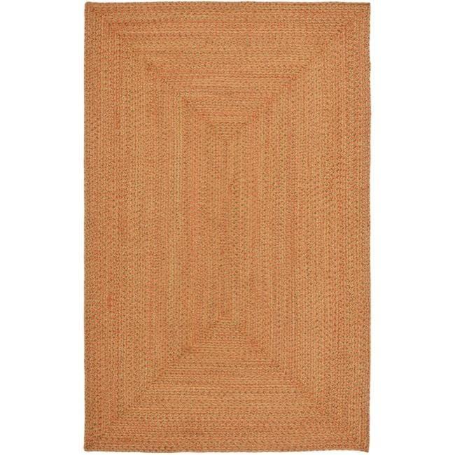Safavieh Hand-woven Reversible Peach/ Green Braided Rug - 2'6' x 4'