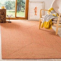 Safavieh Hand-woven Reversible Peach/ Green Braided Rug - 5' x 8'