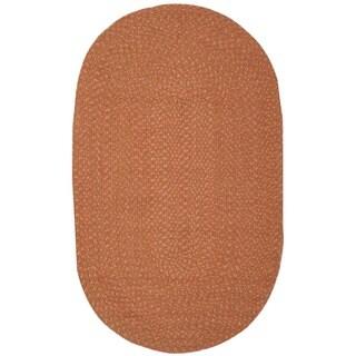 Safavieh Hand-woven Reversible Peach/ Yellow Braided Rug (3' x 5' Oval)