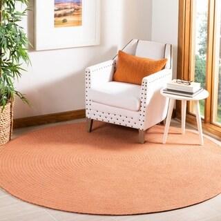 Safavieh Hand-woven Reversible Peach/ Yellow Braided Rug - 6' x 6' Round