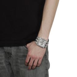 Geneva Platinum Men's Rhinestone Chronograph-style Link Watch