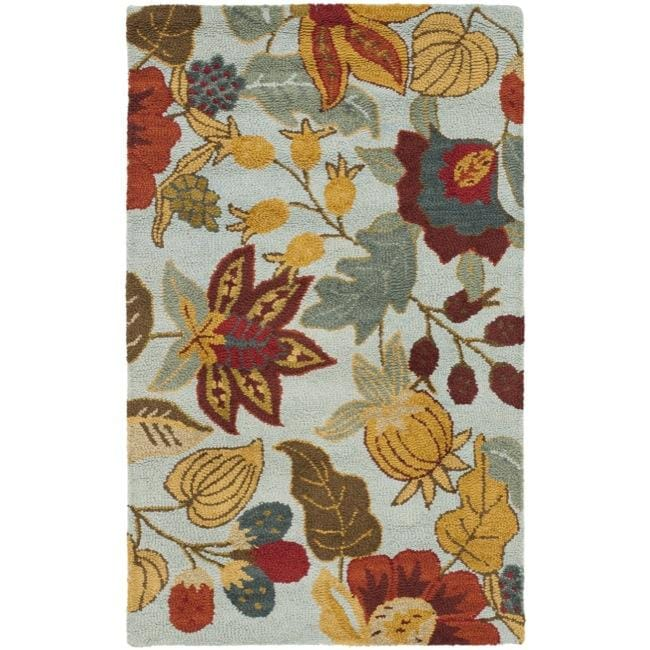 Safavieh Handmade Blossom Floral Light Blue Wool Rug (5' x 8')