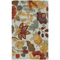 Safavieh Handmade Blossom Floral Light Blue Wool Rug - 5' x 8'