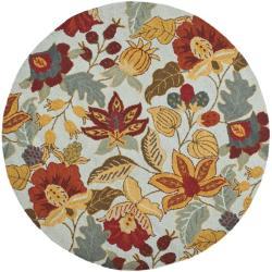 Safavieh Handmade Blossom Floral Light Blue Wool Rug - 6' x 6' Round