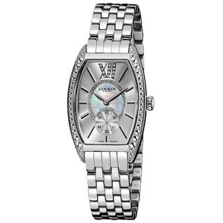 Akribos XXIV Women's Diamond Swiss Quartz Tonneau Silver-Tone Bracelet Watch