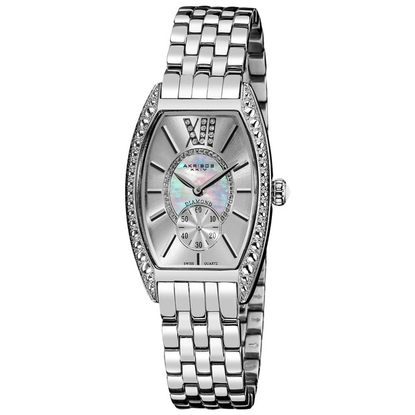Akribos XXIV Women's Diamond Swiss Quartz Tonneau Silver-Tone Bracelet Watch with GIFT BOX