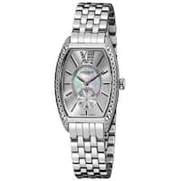 Akribos XXIV Women's Diamond Swiss Quartz Tonneau Silver-Tone Bracelet Watch with FREE Bangle