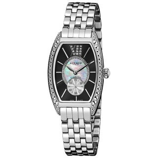 Akribos XXIV Women's Black/Stainless-Steel Diamond Swiss-Quartz Tonneau-Bracelet Watch with GIFT BOX