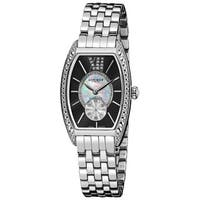 Akribos XXIV Women's Black/Stainless-Steel Diamond Swiss-Quartz Tonneau-Bracelet Watch with FREE Bangle