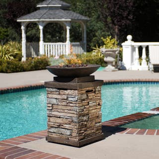 Newcastle Gas Firebowl with Metal Bowl atop Envirostone Column Base|https://ak1.ostkcdn.com/images/products/5946828/P13645343.jpg?impolicy=medium