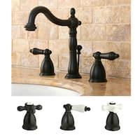Cross Handle Oil Rubbed Bronze Widespread Bathroom Faucet
