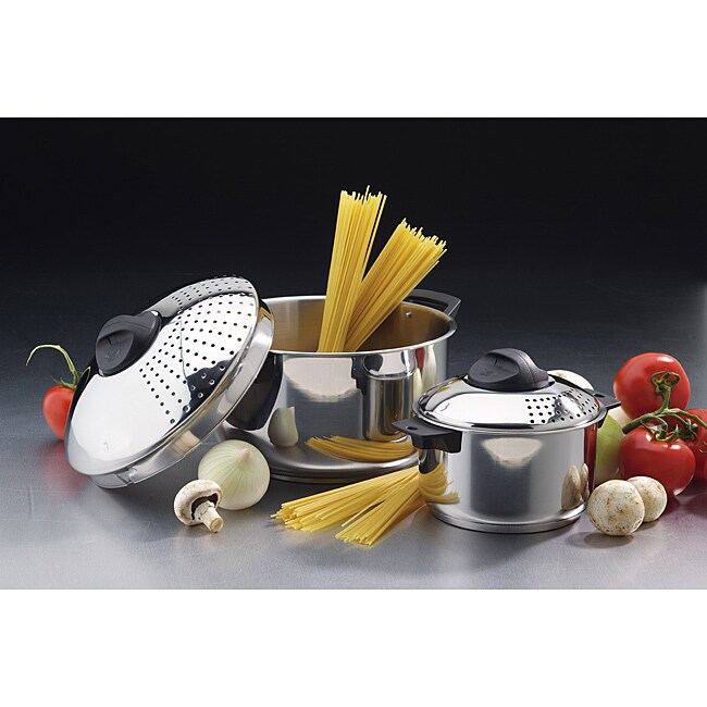 Stainless Steel 6-quart and 2-quart Pasta Pots
