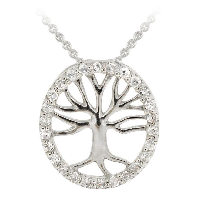 Icz Stonez Sterling Silver Cubic Zirconia Tree of Life Necklace
