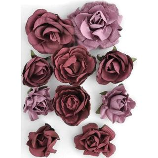 Set of Ten Detailed Cranberry-colored Paper Blooms in Assorted Sizes