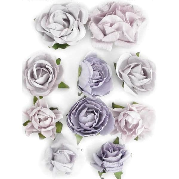 Pack of 10 Misty-colored Detailed Paper Flower-bloom Embellishments