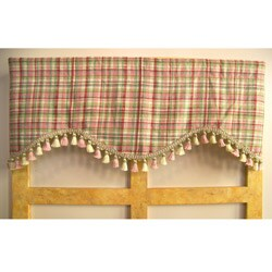 Spring Heather Plaid Valance with Tassels