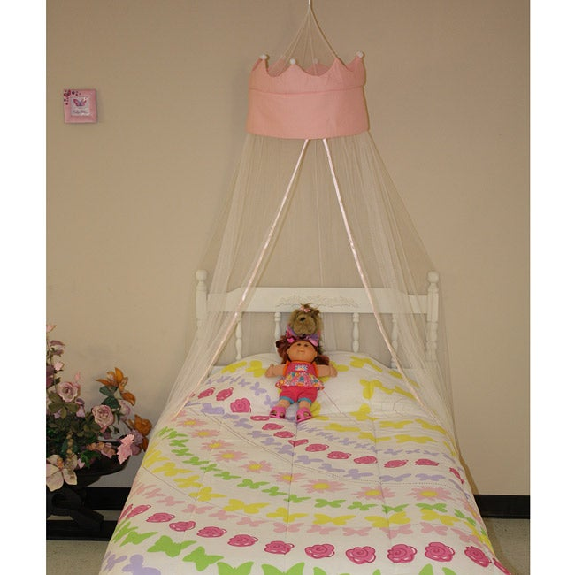Pink Princess Crown White Polyester Round Bedding Canopy ...