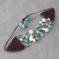 Crocheted Cotton Turquoise Pearl 4-strand Pull Bracelet (Thailand)